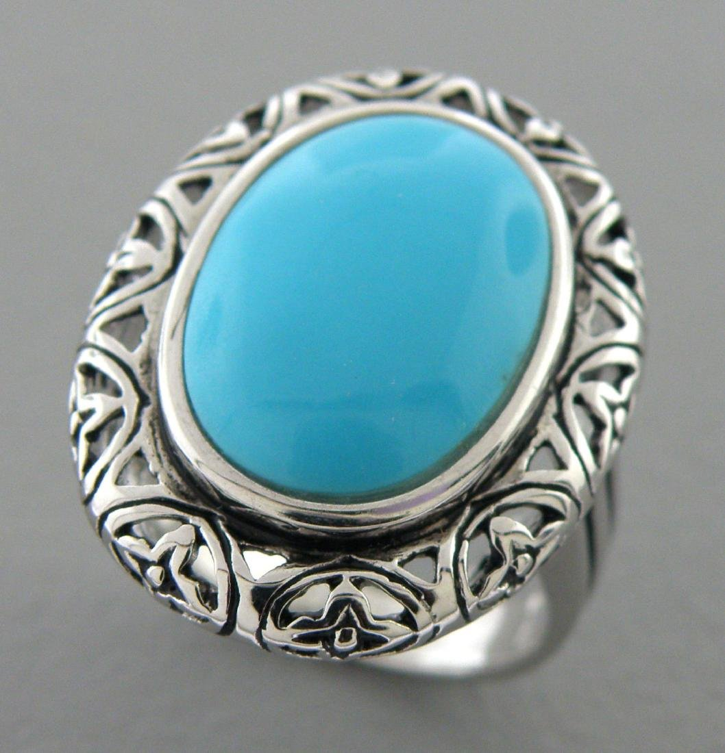NEW IMPERIAL STERLING SILVER LADIES BLUE TURQUOISE RING