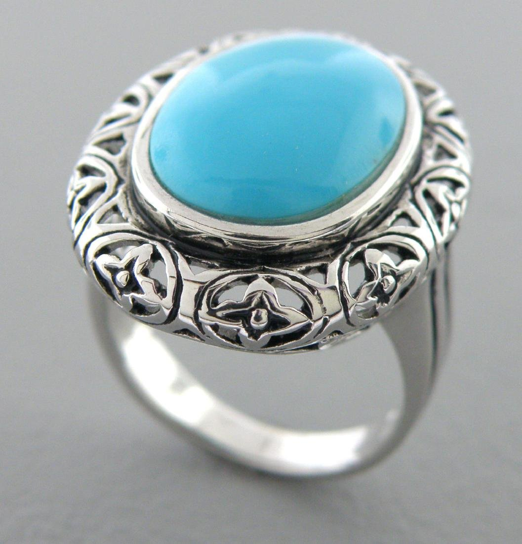 NEW IMPERIAL STERLING SILVER LADIES BLUE TURQUOISE RING - 2