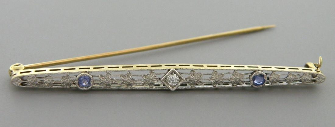 VINTAGE 14K GOLD OLD MINE CUT DIAMOND SAPPHIRE PIN