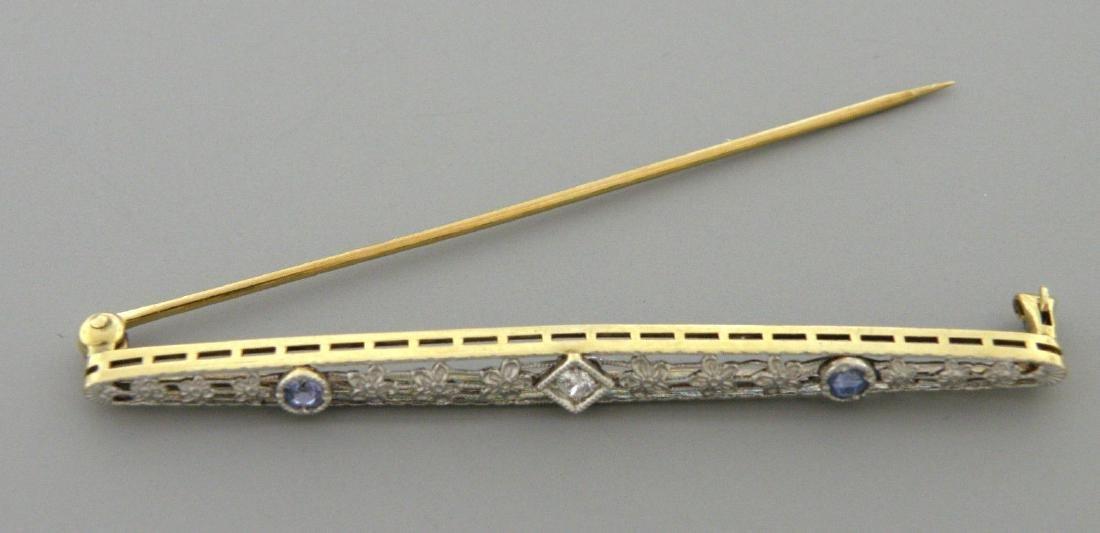 VINTAGE 14K GOLD OLD MINE CUT DIAMOND SAPPHIRE PIN - 2