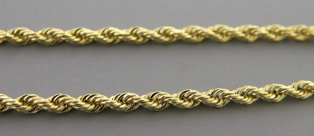 """14K YELLOW GOLD ROPE CHAIN NECKLACE 3mm - 18"""" - 2"""