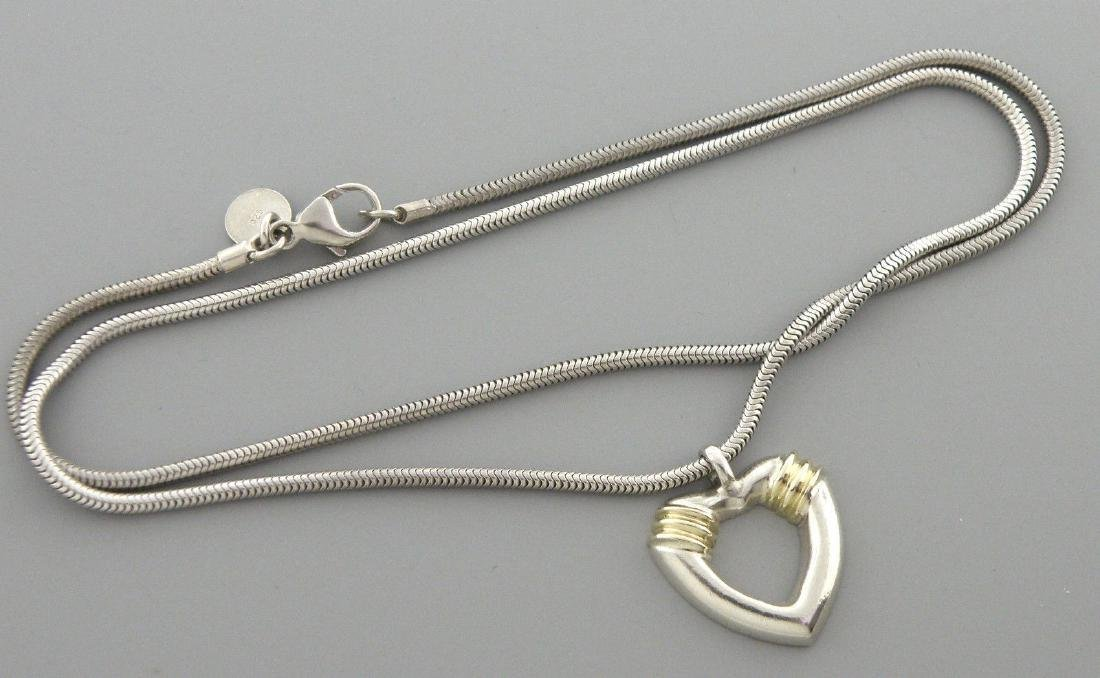 TIFFANY & Co. 18K STERLING SILVER HEART NECKLACE POUCH - 2