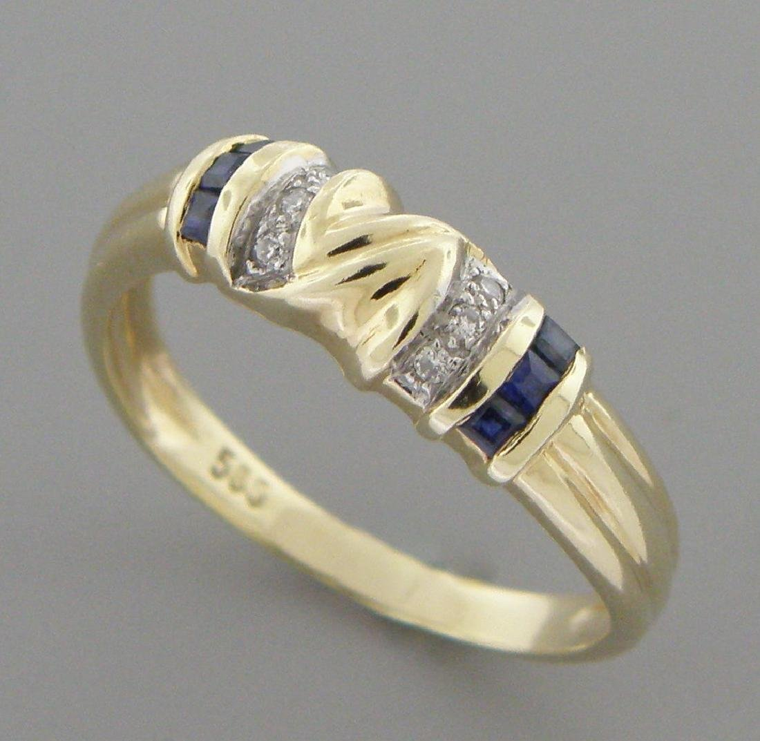 DECO 14K Y/ GOLD OLD BLUE SAPPHIRE DIAMOND BAND RING