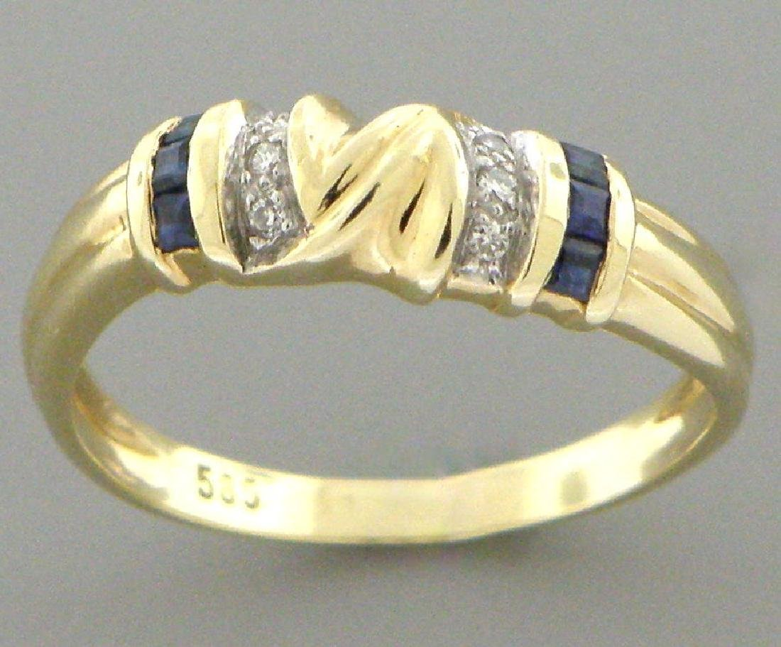 DECO 14K Y/ GOLD OLD BLUE SAPPHIRE DIAMOND BAND RING - 2