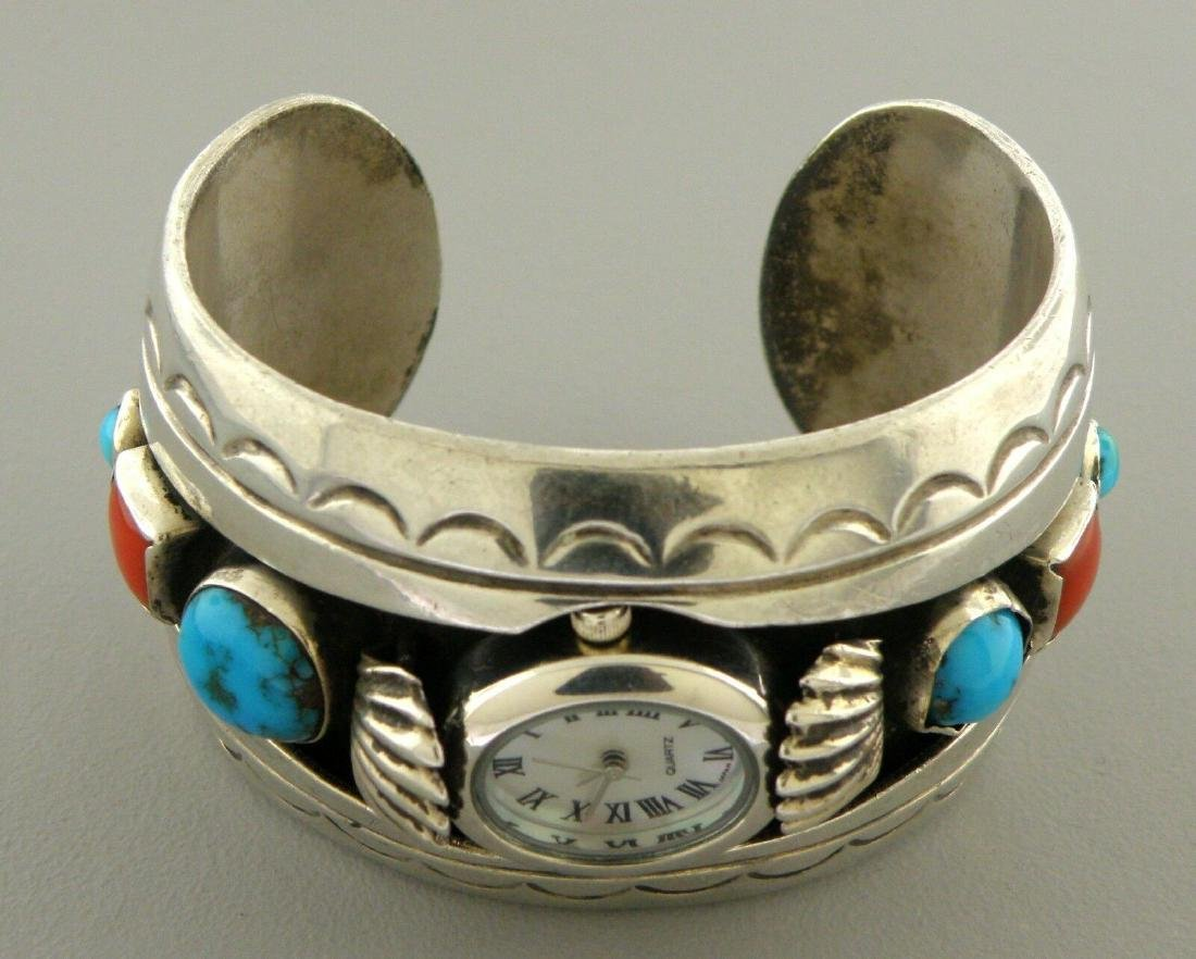 VINTAGE NAVAJO SILVER TURQUOISE CORAL CUFF BANGLE WATCH - 2