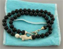 TIFFANY 18K STERLING SILVER FISH ONYX PEARL NECKLACE