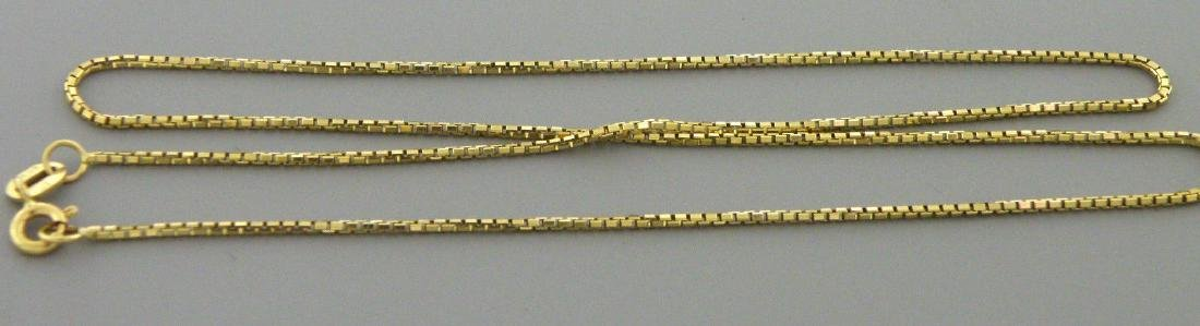 """NEW 14K YELLOW GOLD BOX CHAIN, 18"""" NECKLACE 1.2MM"""
