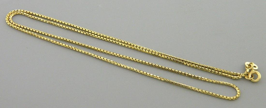 """NEW 14K YELLOW GOLD BOX CHAIN, 18"""" NECKLACE 1.2MM - 2"""