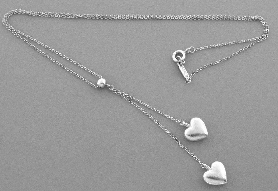 TIFFANY & Co. STERLING SILVER DOUBLE HEART NECKLACE - 2