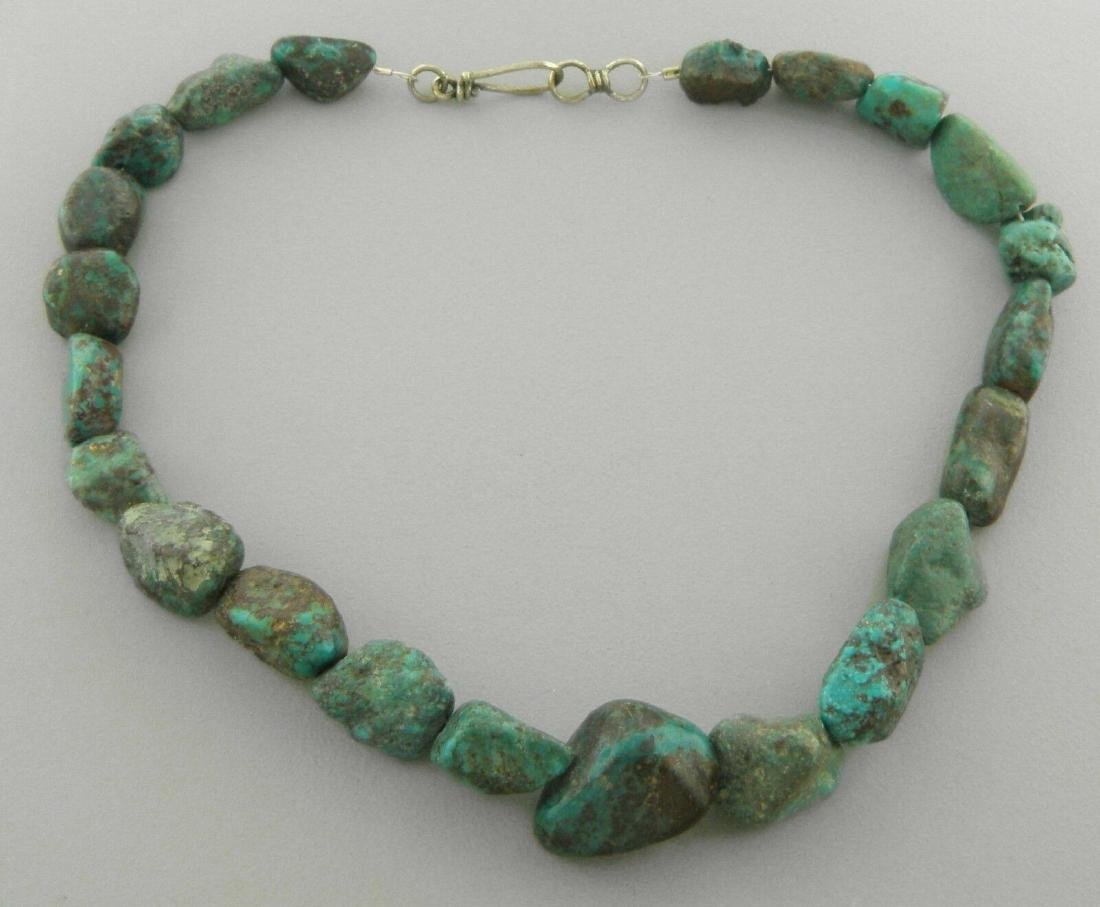 VINTAGE SILVER NATURAL TURQUOISE ROUGH NUGGET NECKLACE