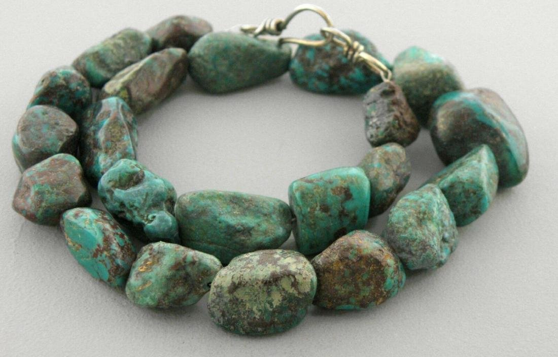 VINTAGE SILVER NATURAL TURQUOISE ROUGH NUGGET NECKLACE - 2