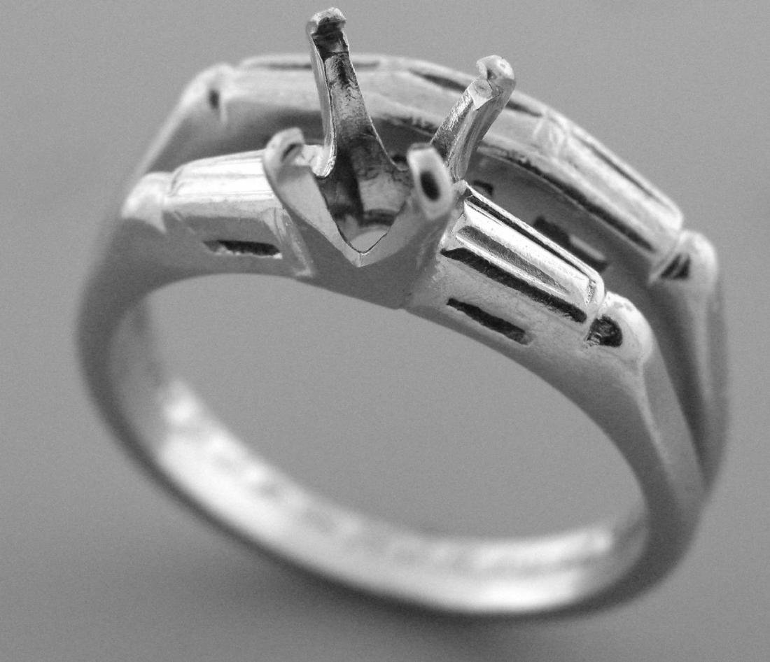 VINTAGE 14K WHITE GOLD LADIES ENGAGEMENT RING AND BAND