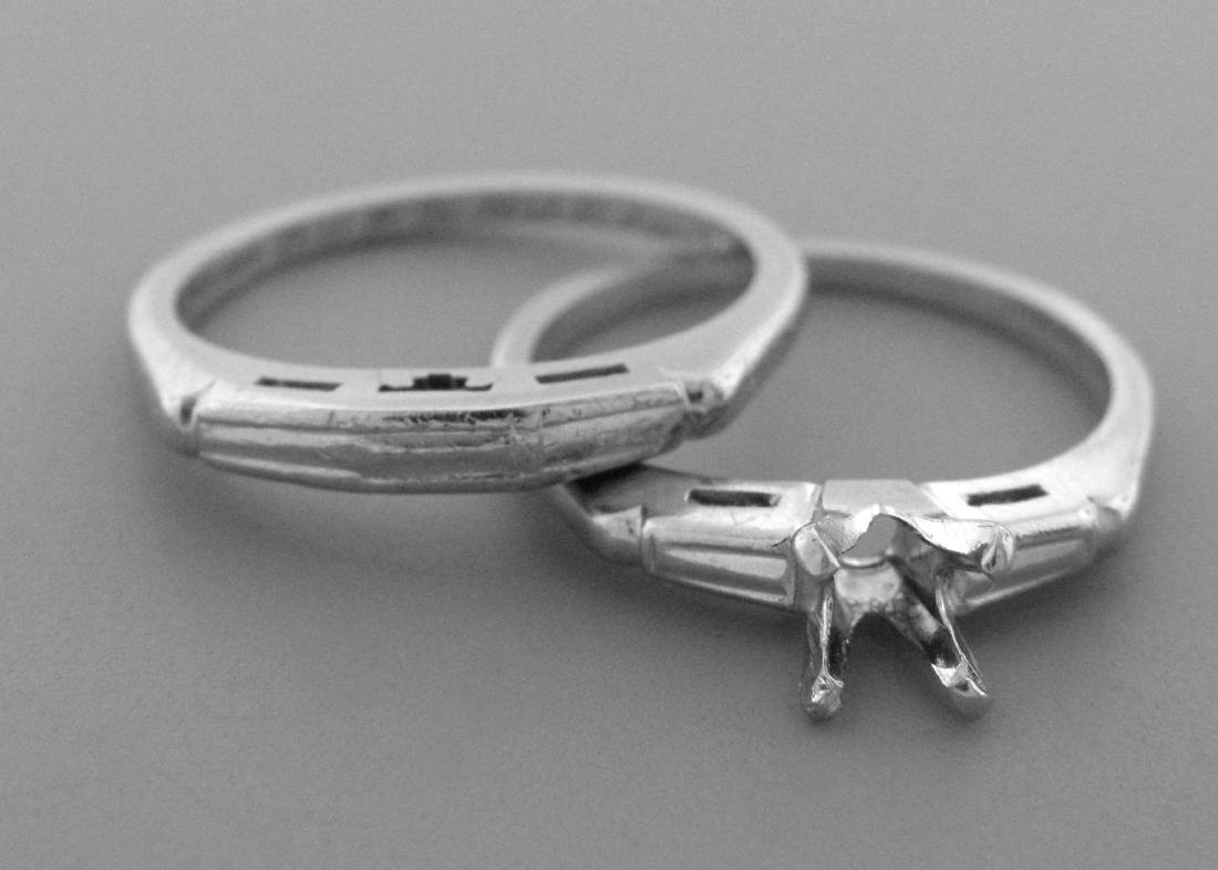 VINTAGE 14K WHITE GOLD LADIES ENGAGEMENT RING AND BAND - 2
