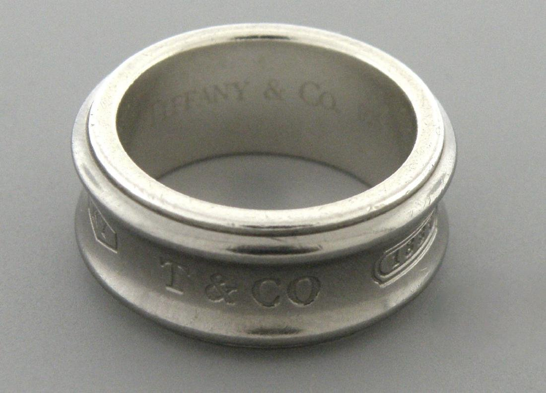 TIFFANY & Co. STERLING SILVER TITANIUM 1837 RING BAND - 2