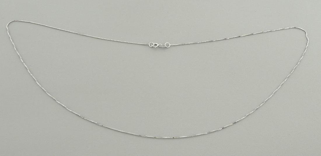"NEW 14K WHITE GOLD BOX CHAIN, 20"" NECKLACE - 2"
