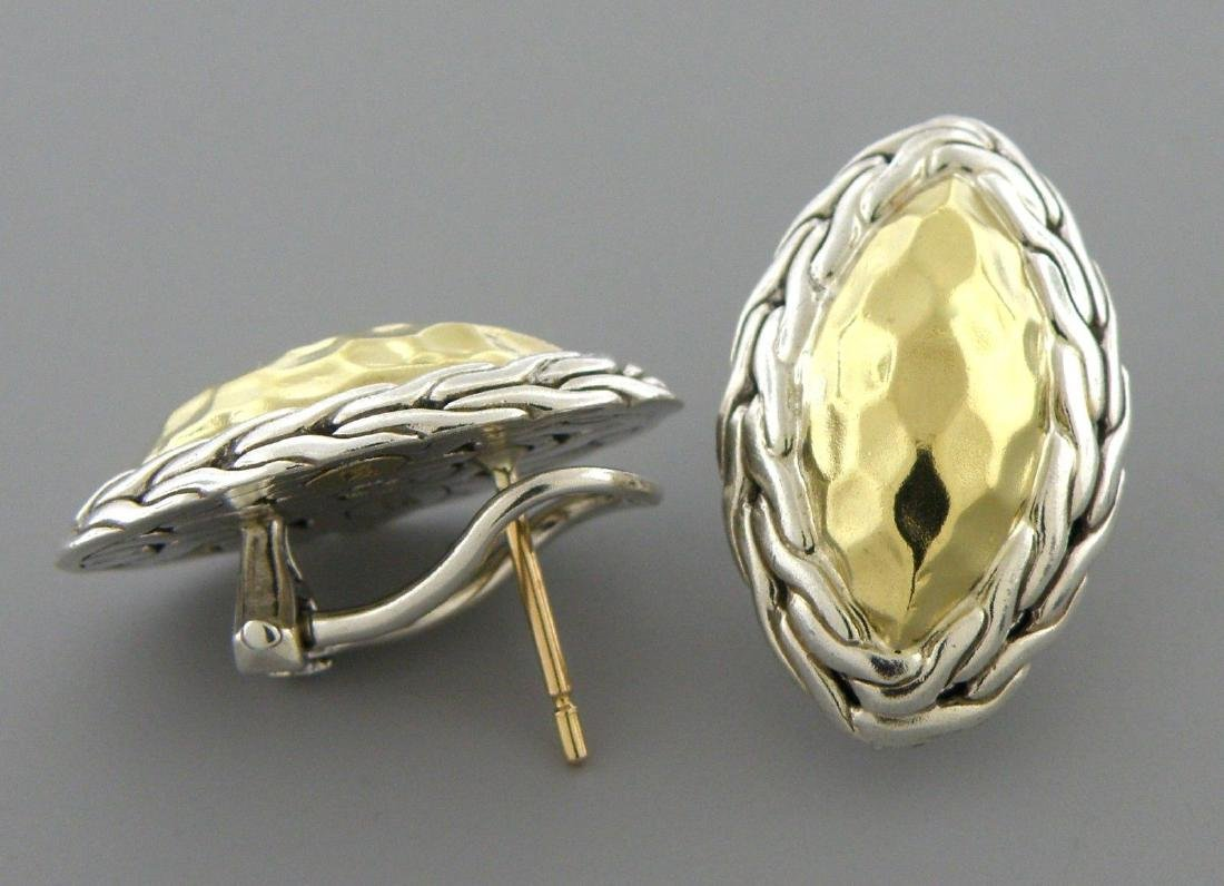 JOHN HARDY 22K GOLD STERLING SILVER HAMMERED EARRINGS