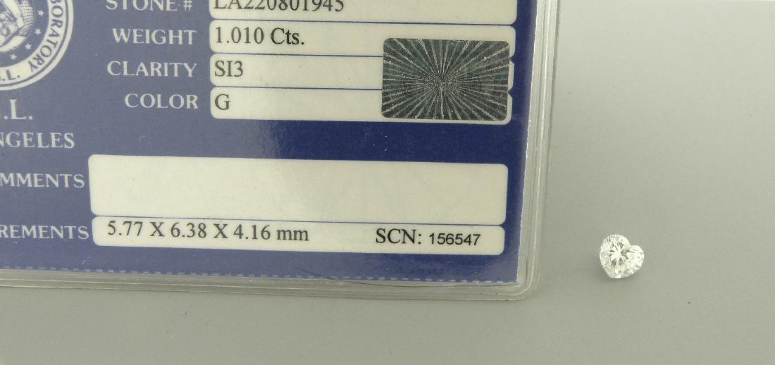 EGL 1.01ct LOOSE NATURAL UNTREATED HEART DIAMOND G SI3