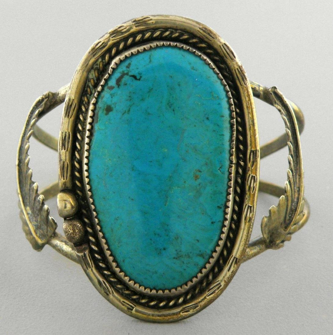 VINTAGE NAVAJO STERLING SILVER TURQUOISE CUFF BRACELET - 2