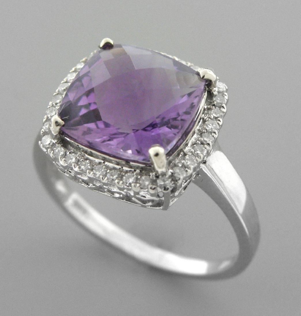 NEW 14K WHITE GOLD AMETHYST DIAMOND HALO COCKTAIL RING - 2