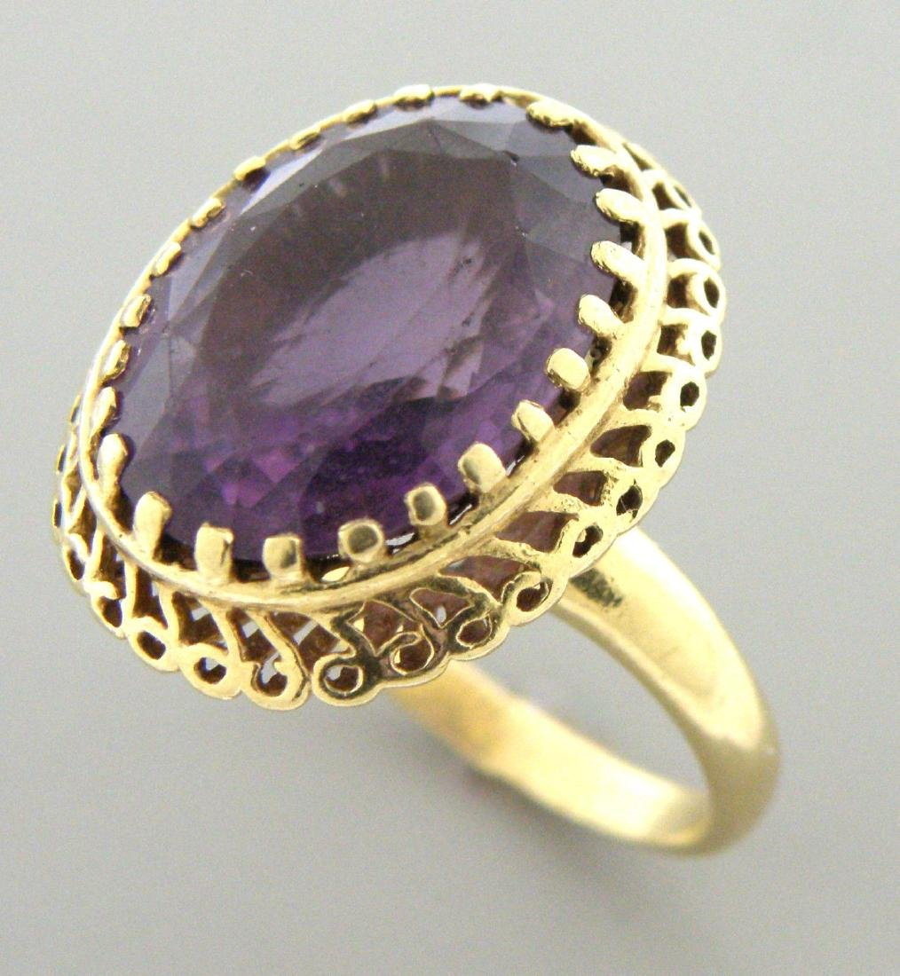 VINTAGE 14K YELLOW GOLD LARGE OVAL LADIES AMETHYST RING - 2