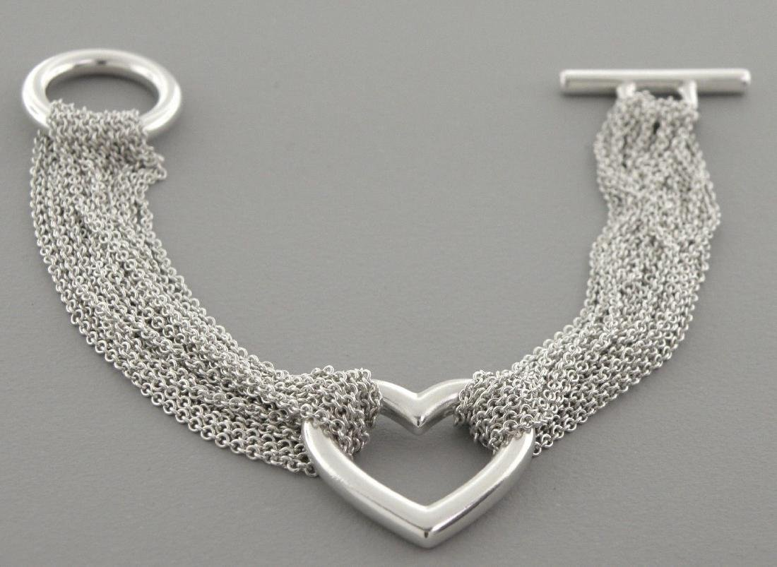 TIFFANY & Co. SILVER HEART MESH STRAND TOGGLE BRACELET - 2