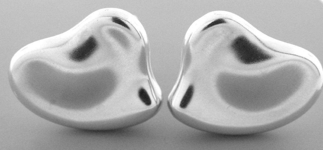 TIFFANY & Co. STERLING SILVER FULL HEART EARRINGS - 2