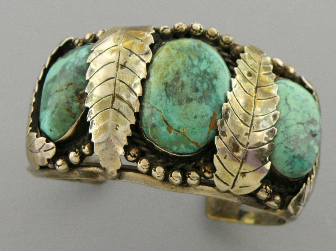 VINTAGE STERLING SILVER ROYSTON TURQUOISE CUFF BANGLE