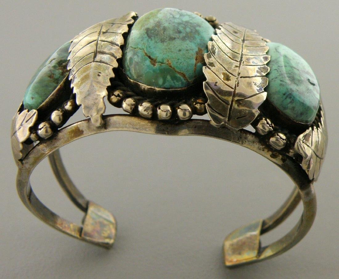 VINTAGE STERLING SILVER ROYSTON TURQUOISE CUFF BANGLE - 2