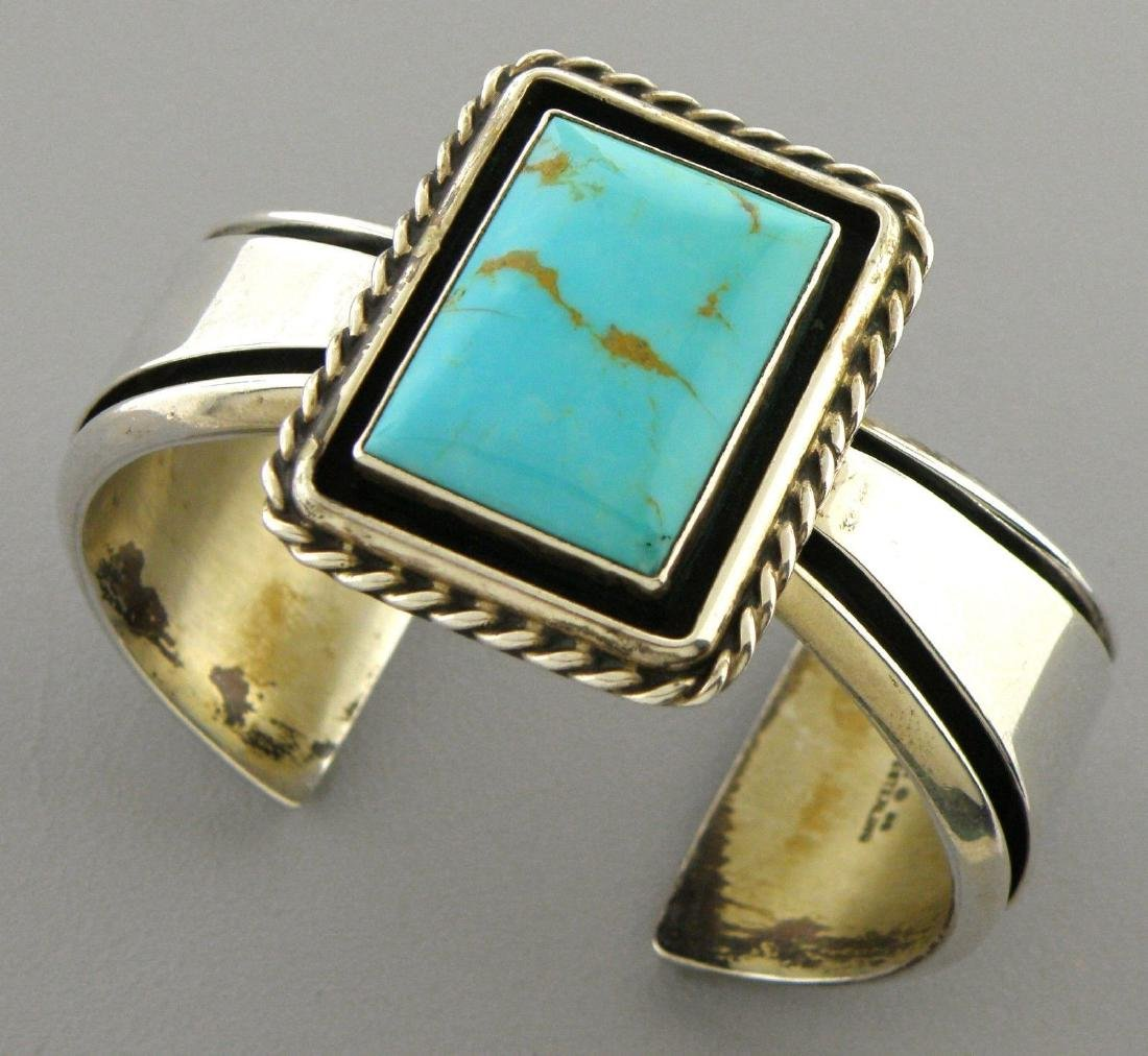 CAROL FELLEY STERLING SILVER TURQUOISE CUFF BANGLE