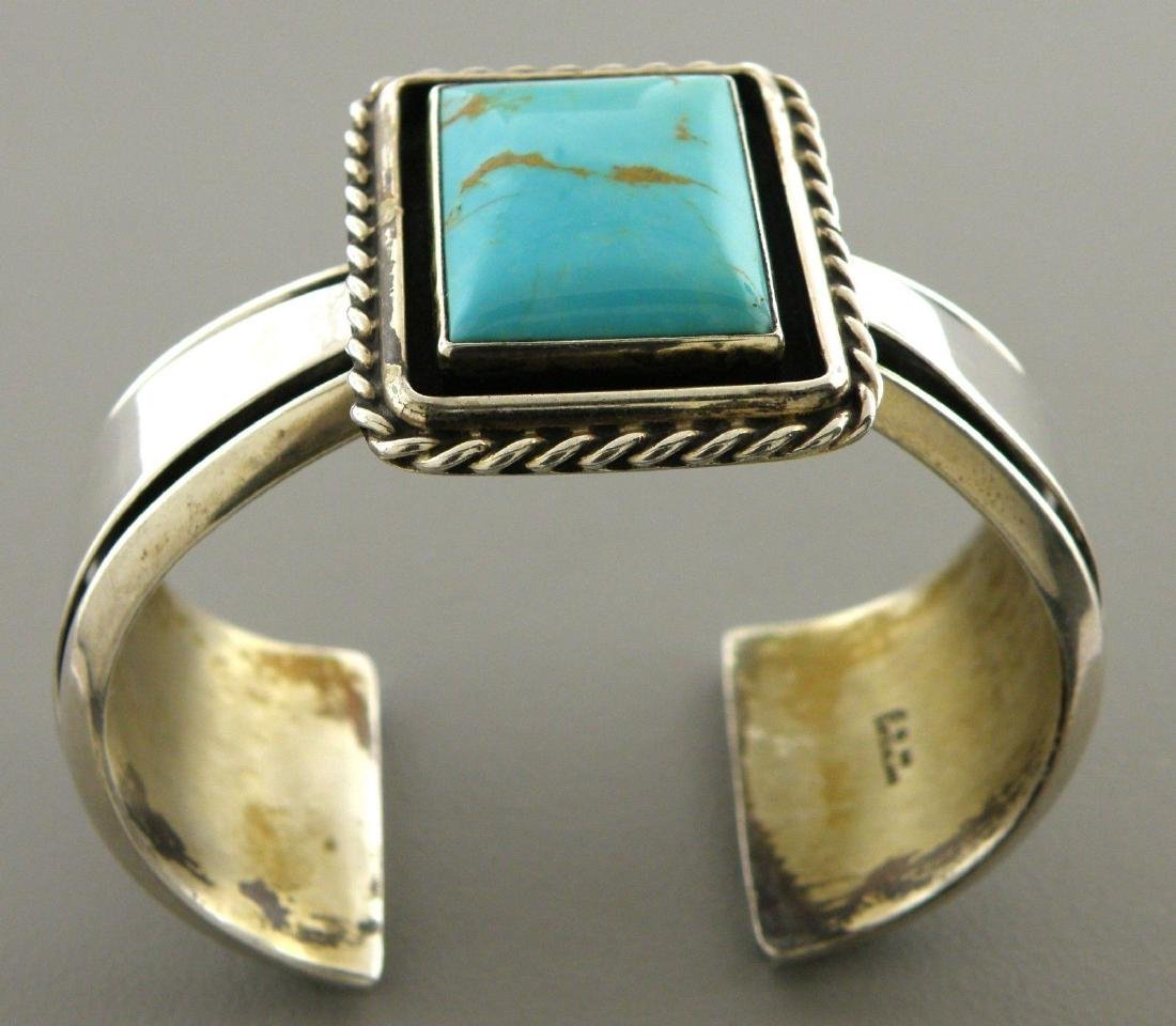 CAROL FELLEY STERLING SILVER TURQUOISE CUFF BANGLE - 2