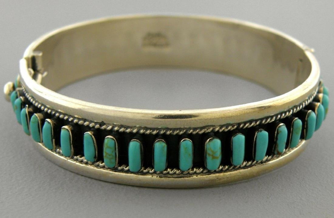 VINTAGE TAXCO STERLING SILVER TURQUOISE LARGE BANGLE