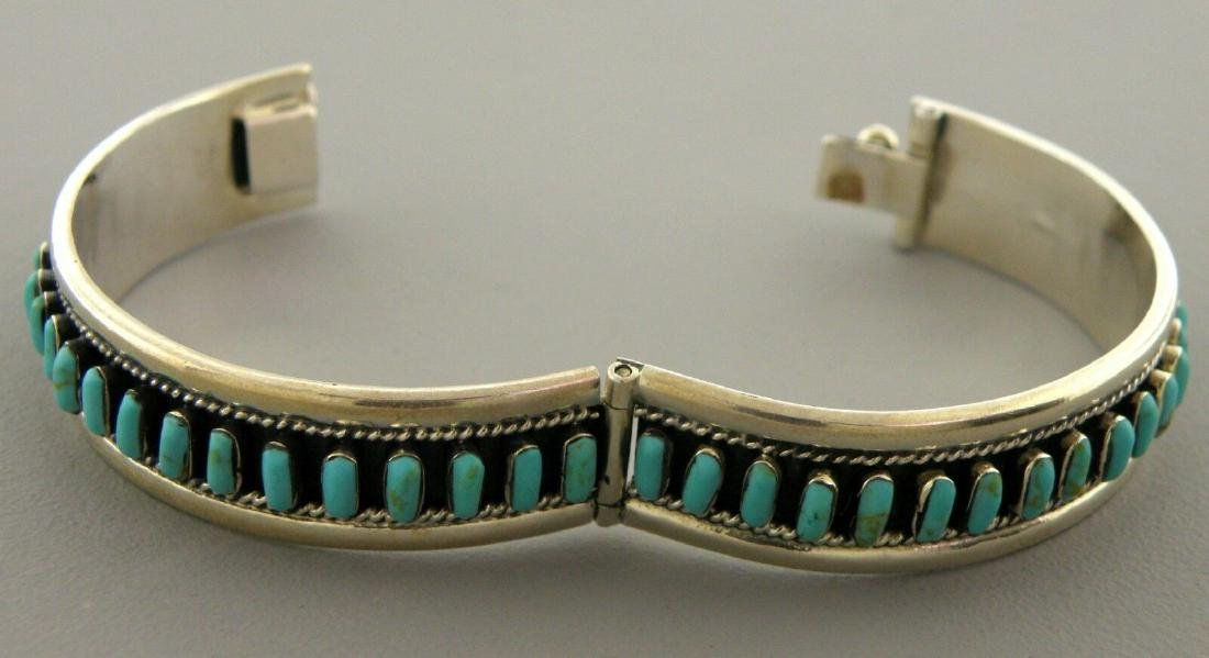 VINTAGE TAXCO STERLING SILVER TURQUOISE LARGE BANGLE - 2