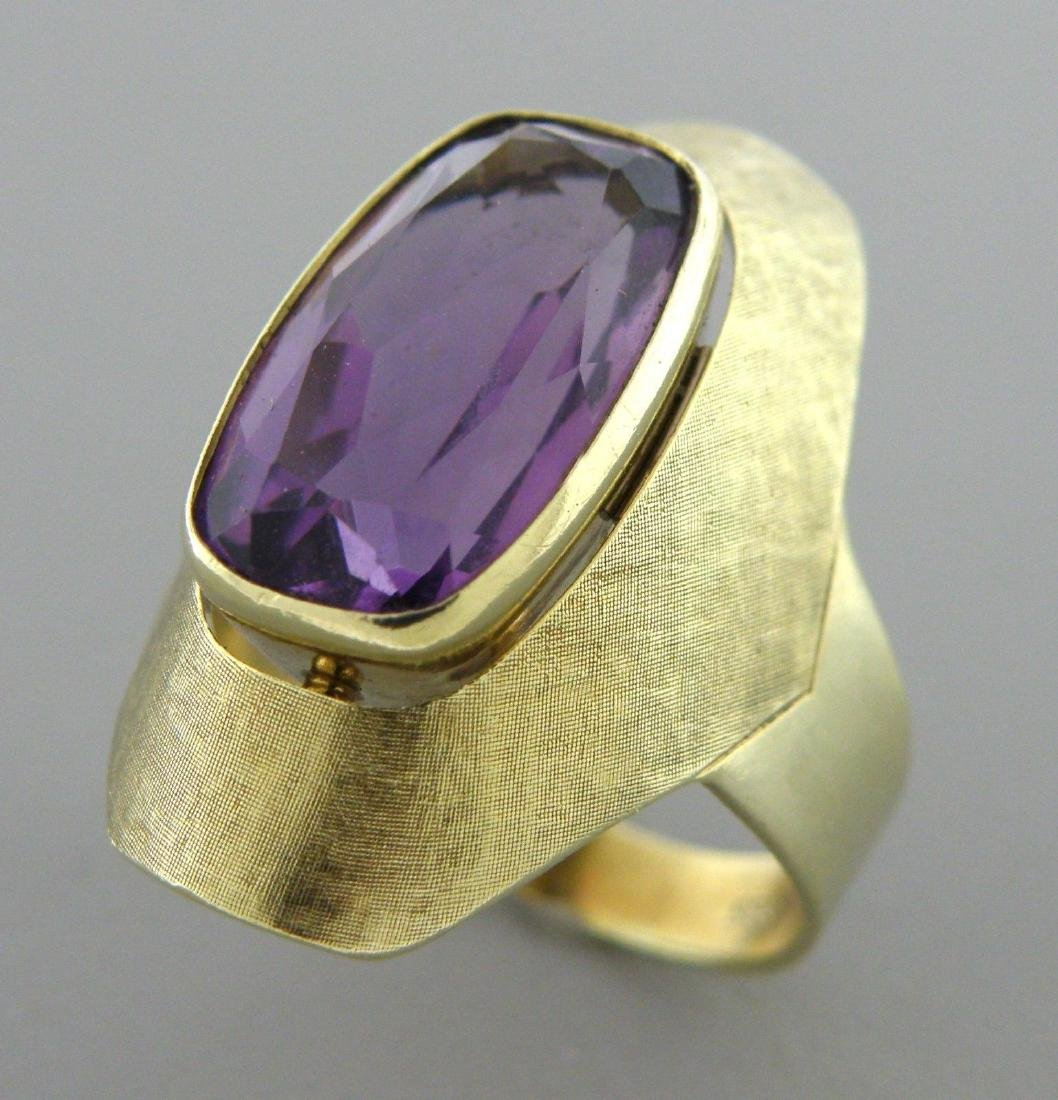 VINTAGE 14K YELLOW GOLD CUSHION AMETHYST COCKTAIL RING - 2