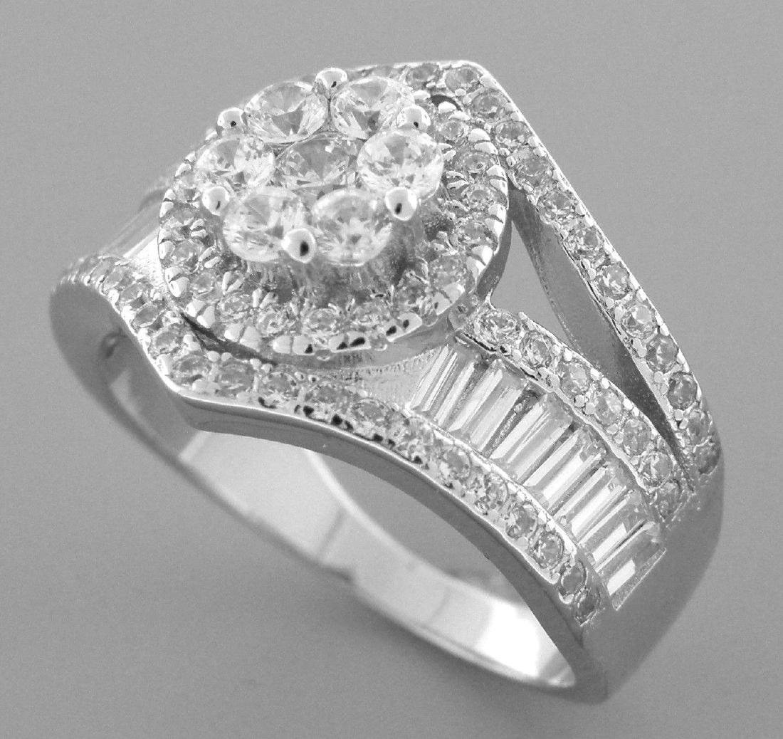 STERLING SILVER LADIES CZ LARGE CLUSTER COCKTAIL RING - 2