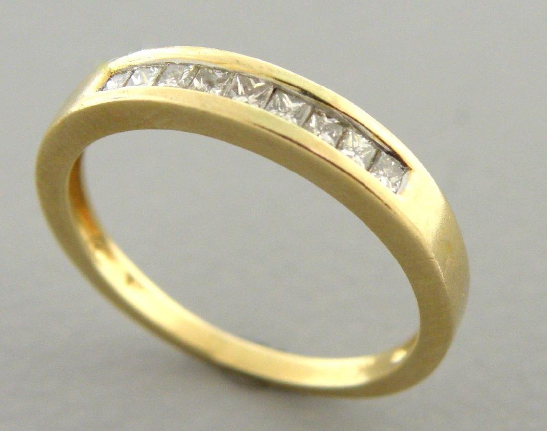 14K YELLOW GOLD DIAMOND RING WEDDING BAND PRINCESS