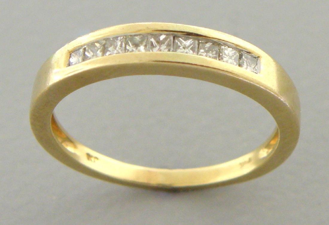 14K YELLOW GOLD DIAMOND RING WEDDING BAND PRINCESS - 2