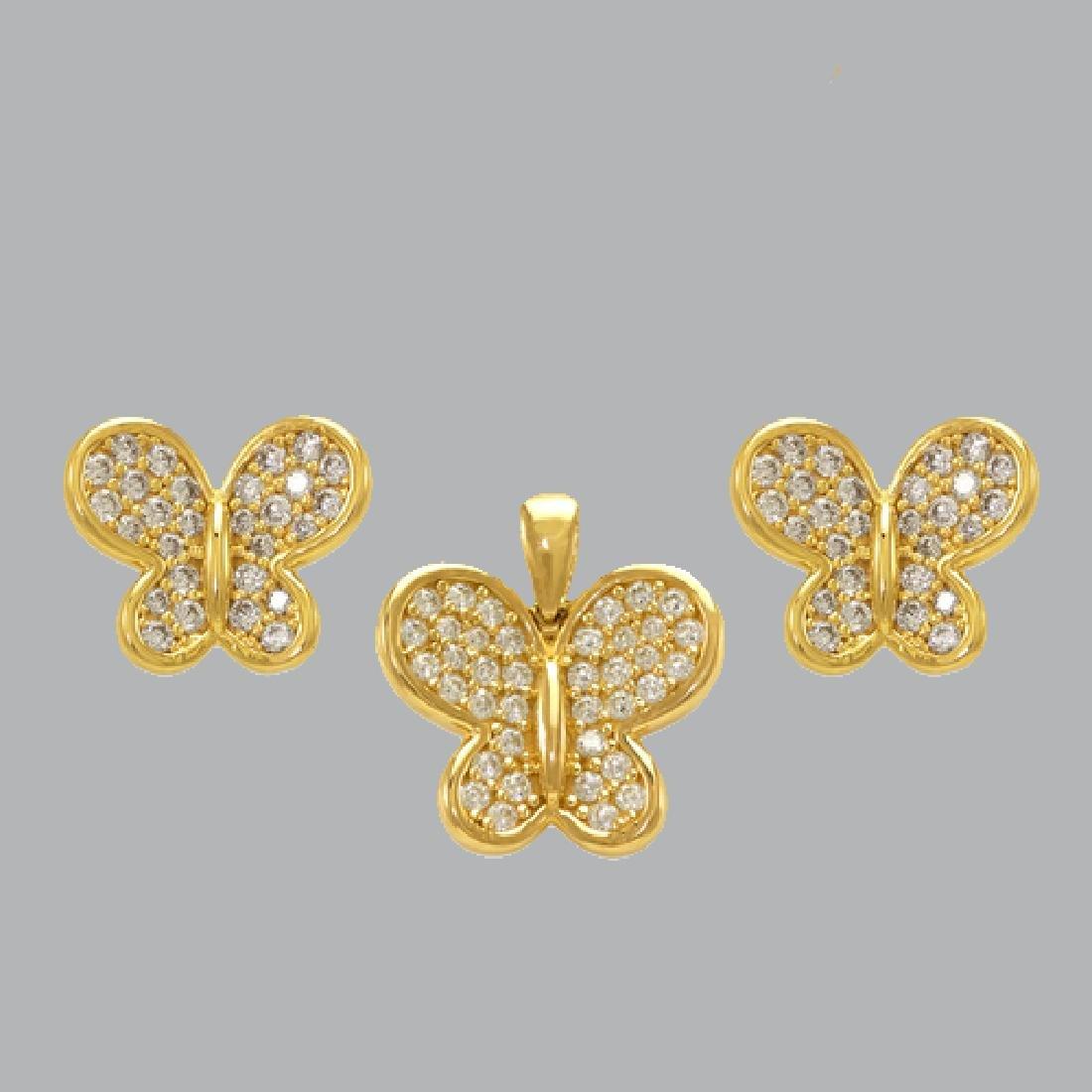 NEW 14K YELLOW GOLD BUTTERFLY EARRING PENDANT SET