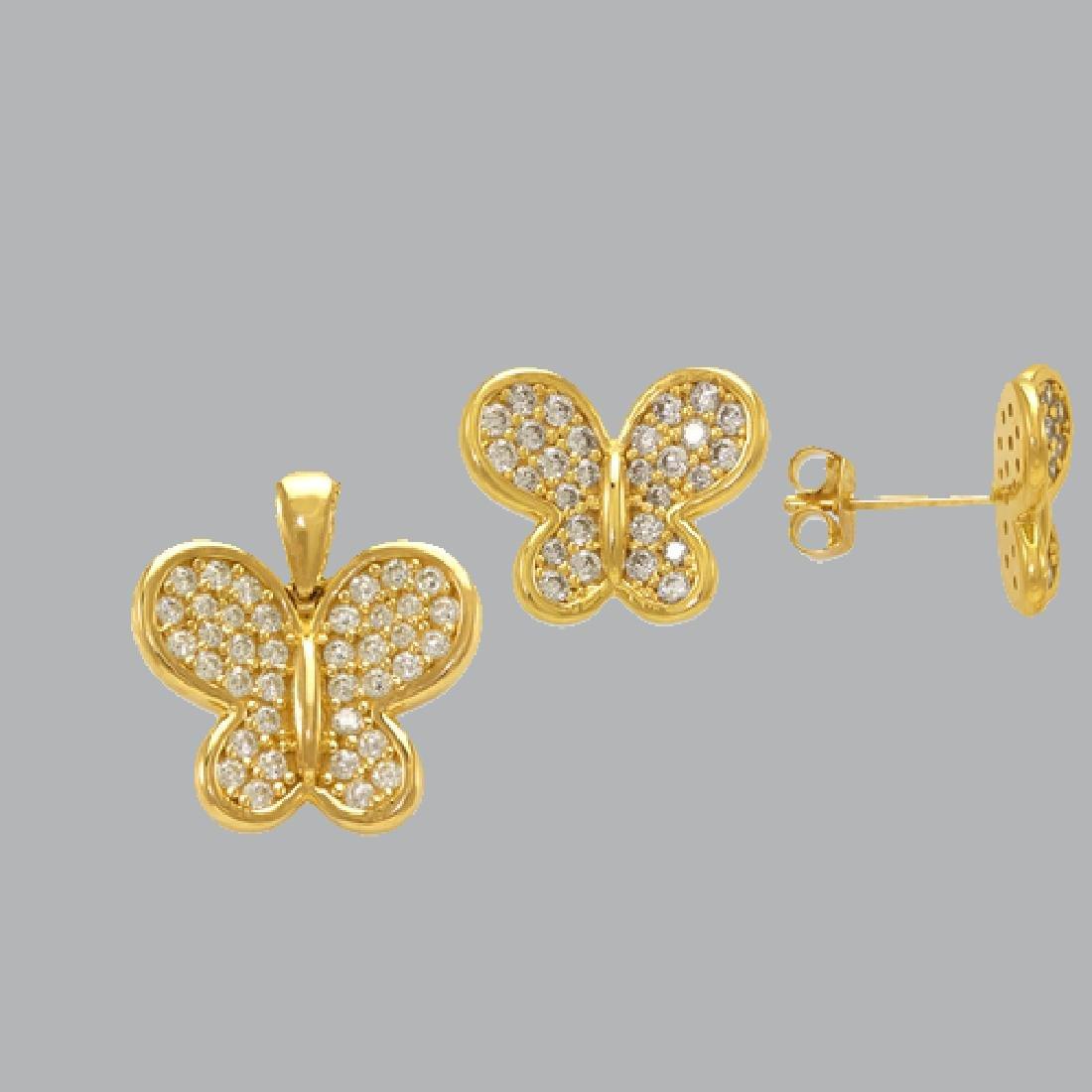 NEW 14K YELLOW GOLD BUTTERFLY EARRING PENDANT SET - 2