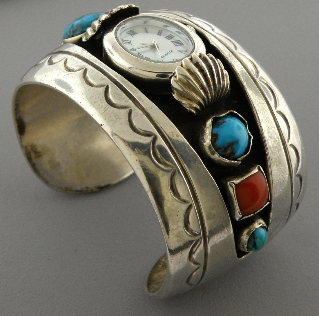 VINTAGE NAVAJO SILVER TURQUOISE CORAL CUFF BANGLE WATCH