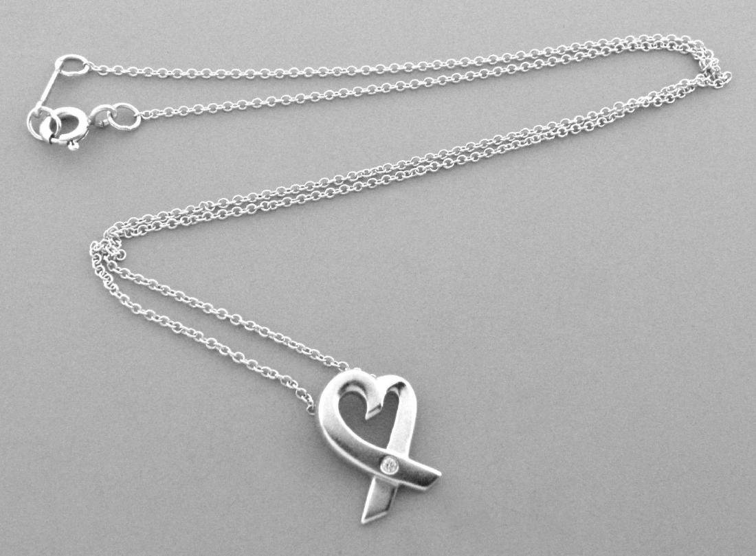 TIFFANY & Co. STERLING SILVER DIAMOND HEART NECKLACE
