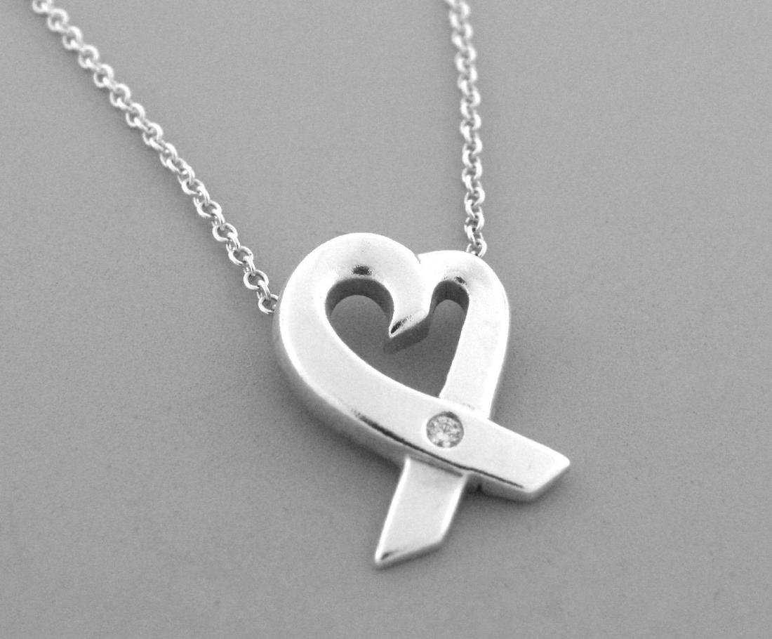 TIFFANY & Co. STERLING SILVER DIAMOND HEART NECKLACE - 2