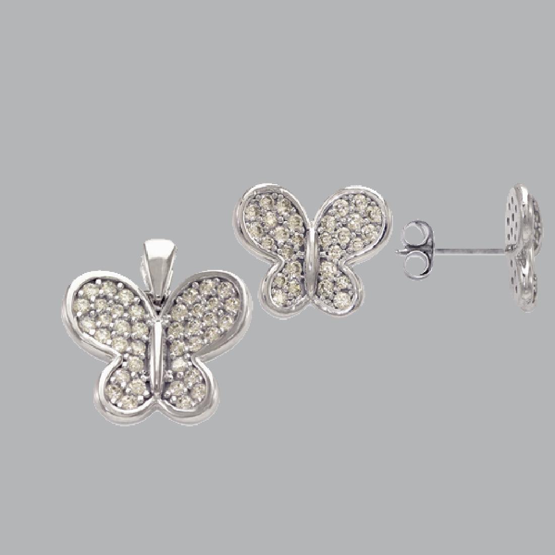 NEW 14K WHITE GOLD BUTTERFLY EARRING PENDANT SET - 2