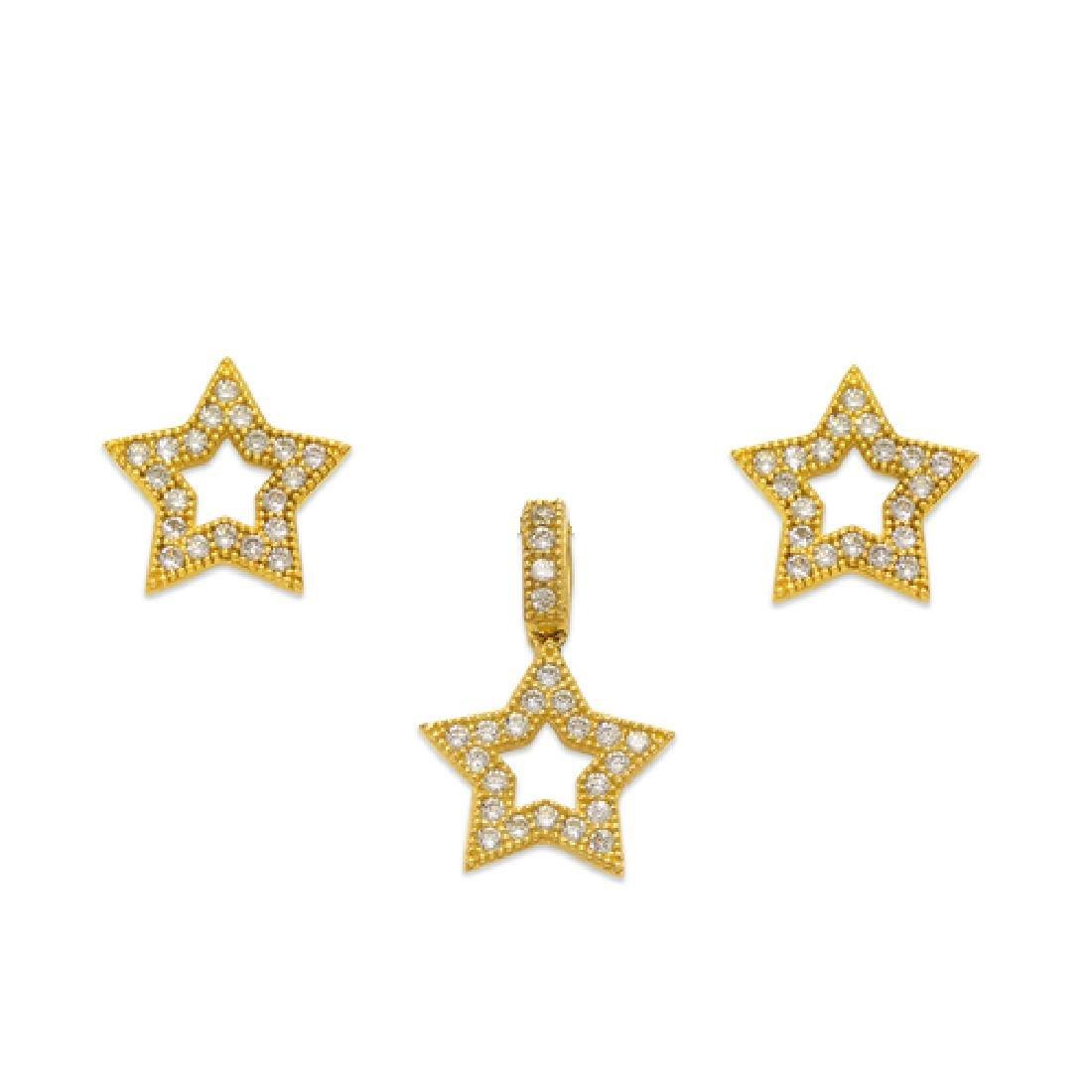 NEW 14K YELLOW GOLD STAR EARRING PENDANT SET