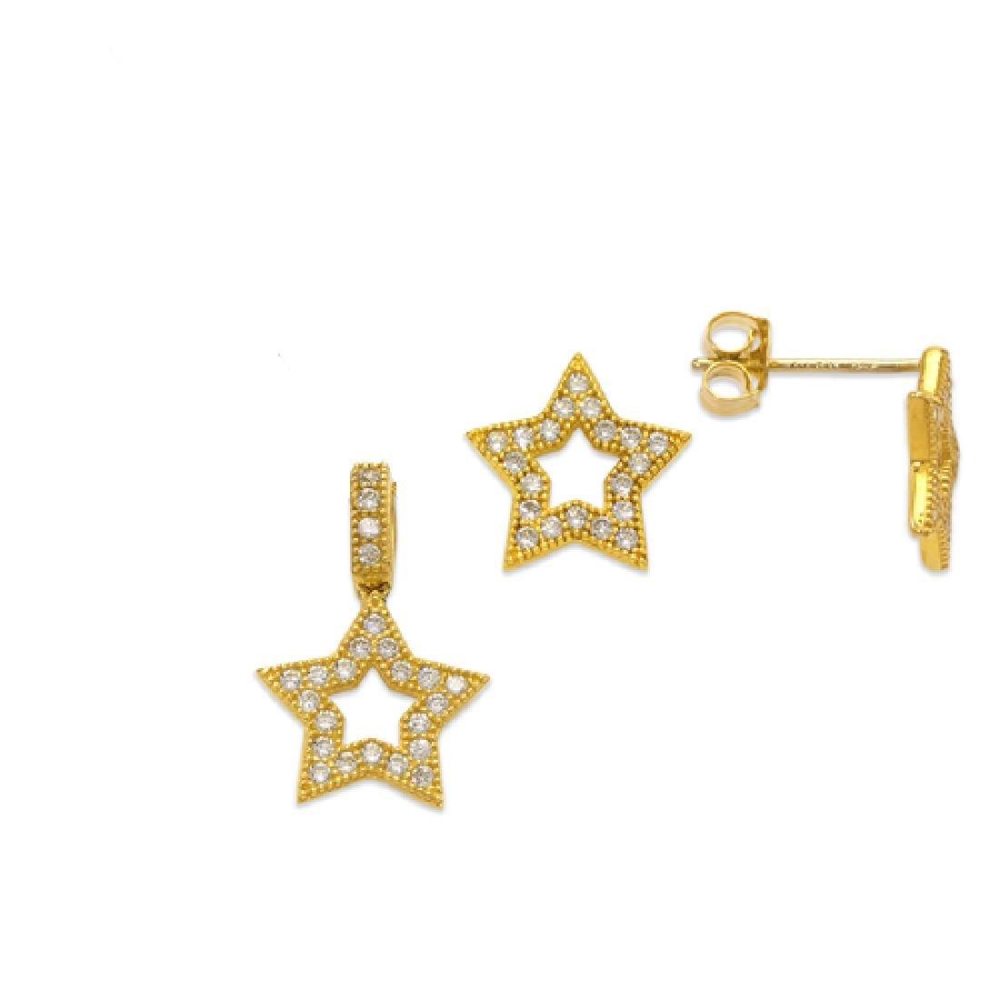 NEW 14K YELLOW GOLD STAR EARRING PENDANT SET - 2