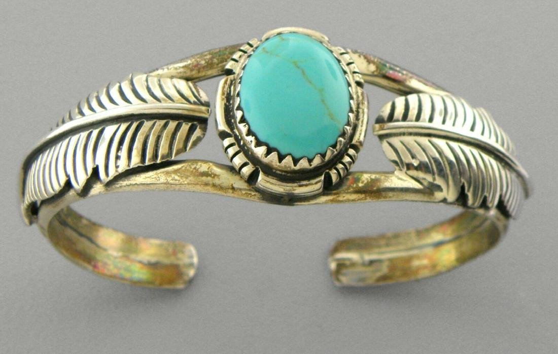 VINTAGE NAVAJO STERLING SILVER TURQUOISE CUFF BRACELET
