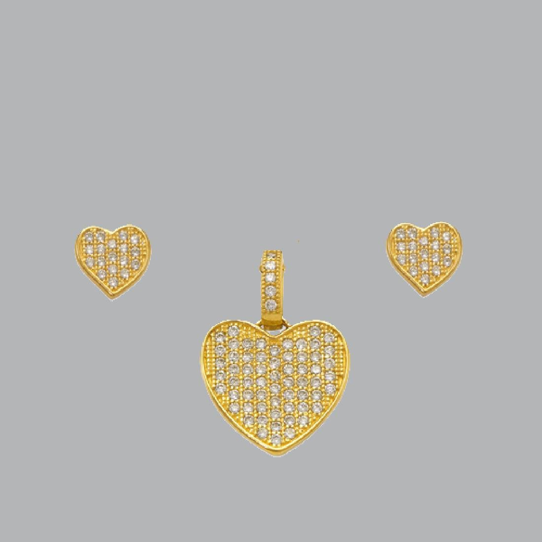NEW 14K YELLOW GOLD HEART EARRING PENDANT SET