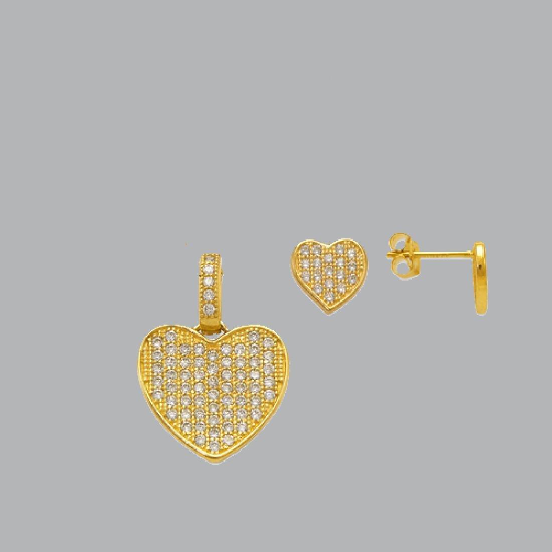 NEW 14K YELLOW GOLD HEART EARRING PENDANT SET - 2