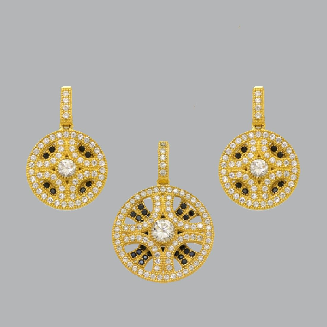 NEW 14K YELLOW GOLD DISC EARRING PENDANT SET