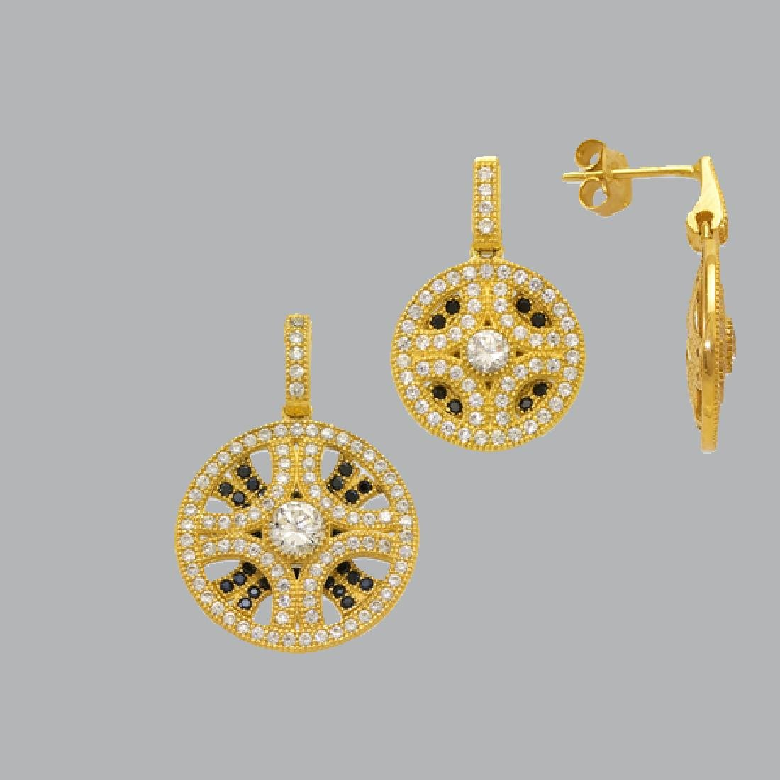 NEW 14K YELLOW GOLD DISC EARRING PENDANT SET - 2