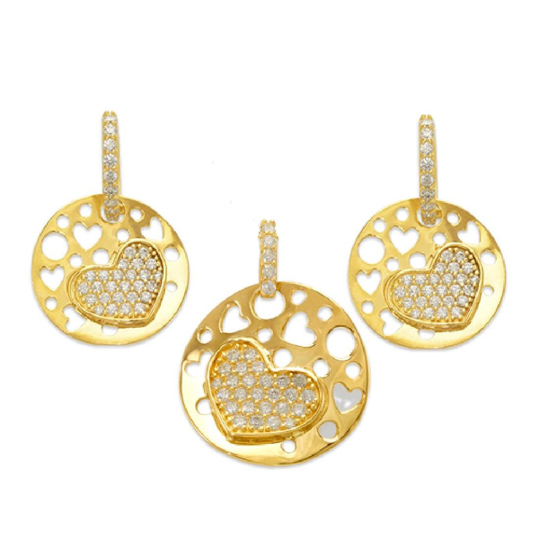NEW 14K YELLOW GOLD HEART PAVE EARRING PENDANT SET